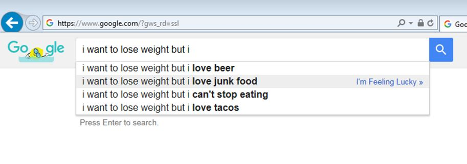 Screenshot from Google search I want to lose weight but I love junk food