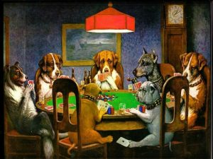 Painting of dogs playing poker