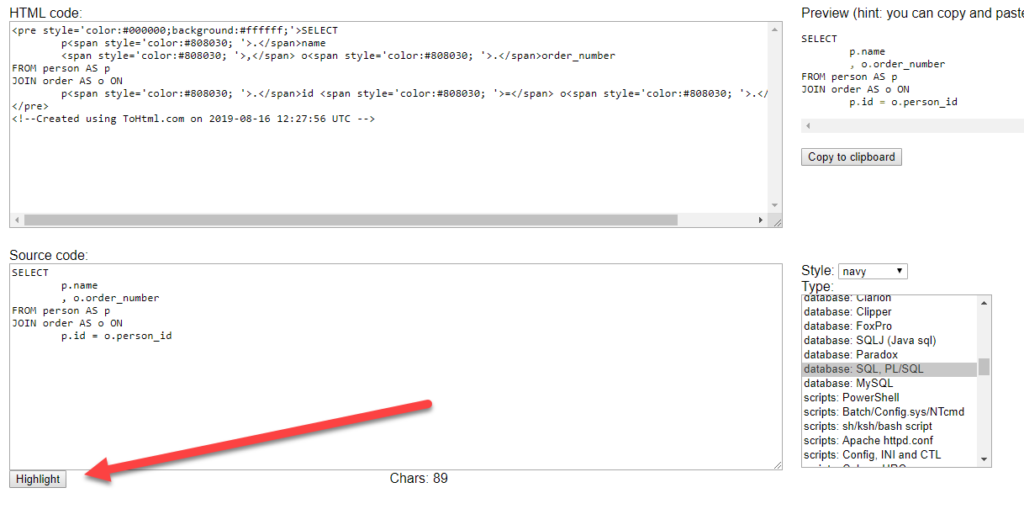 Applying all changes to ToHTML code snippet