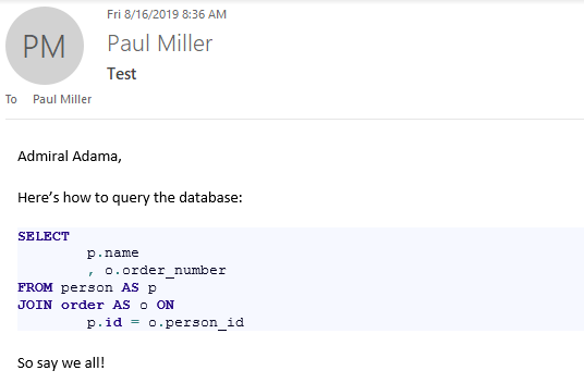 Example of formatted code in an Outlook email