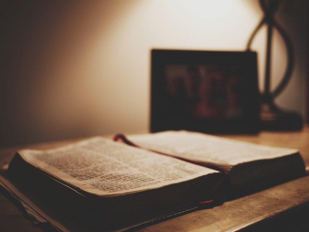 Bible open on a desk
