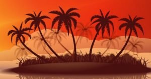 """Picture of palm trees with text """"The Outsourcing Oasis Podcast: The Three Rules for Outsourcing with Paul Miller"""""""