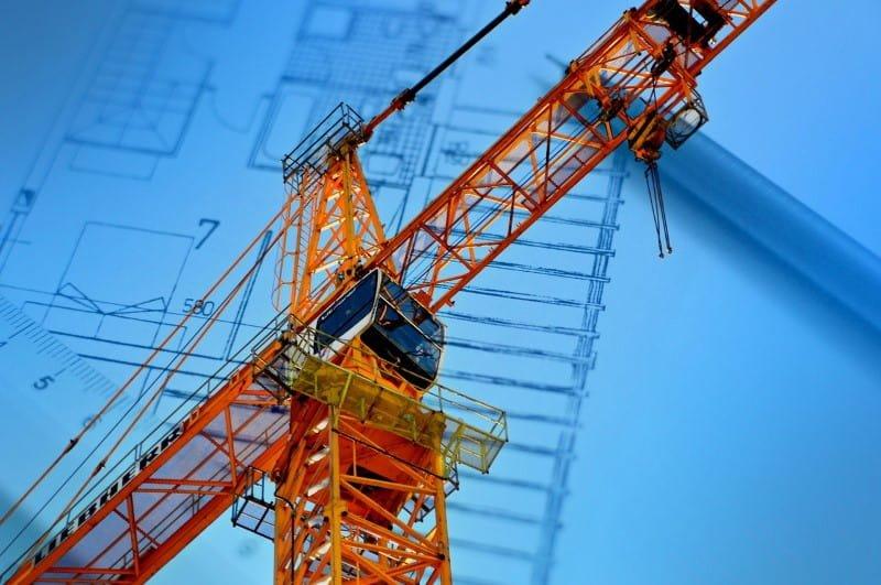 Crane against a blueprint backdrop