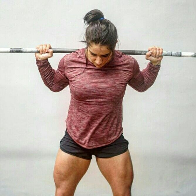 CrossFit athlete Stefi Cohen with a barbell on her shoulders