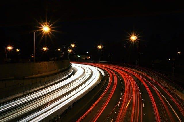 Street with light streaks